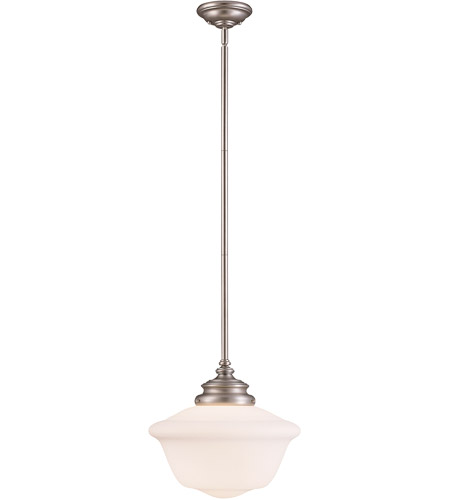 Savoy House 7-9346-1-69 Classic Schoolhouse Designs 1 Light 14 inch Pewter Pendant Ceiling Light in White Opal Etched photo