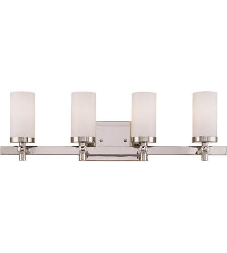 Savoy House 8-1028-4-109 Manhattan 4 Light 26 inch Polished Nickel Bath Bar Wall Light in White Opal Etched photo
