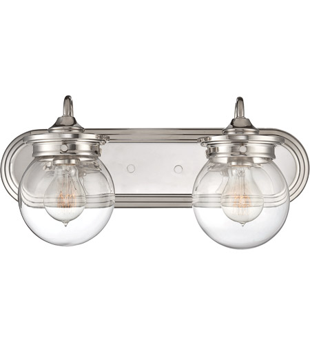 Savoy House 8-232-2-109 Downing 2 Light 18 inch Polished Nickel Bath Bar Wall Light in Clear photo