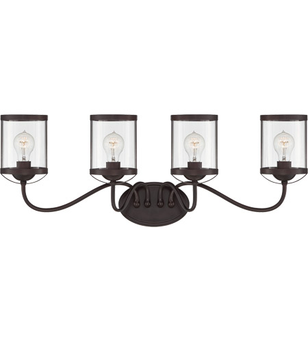 Savoy House 8-235-4-13 Bergen 4 Light 33 inch English Bronze Bath Bar Wall Light in Clear photo