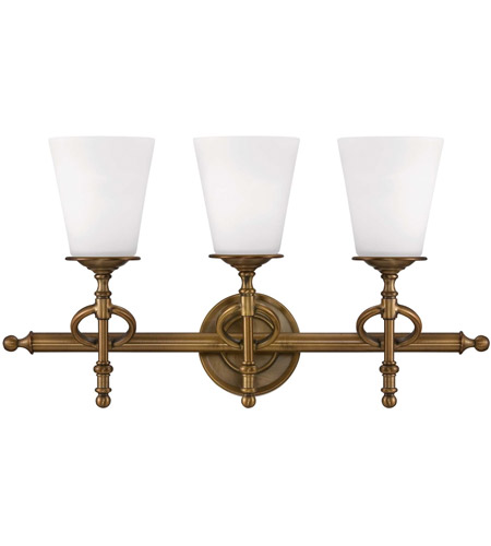 Savoy House Foxcroft 3 Light Vanity Light in Aged Brass 8-4155-3-291 photo