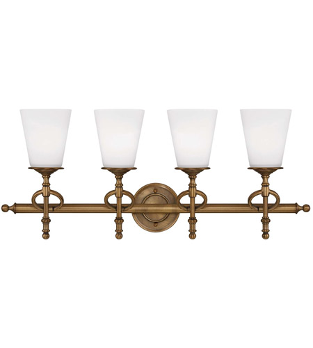 Savoy House Foxcroft 4 Light Vanity Light in Aged Brass 8-4155-4-291 photo