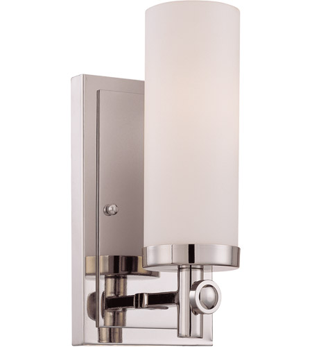 Savoy House 9-1027-1-109 Manhattan 1 Light 5 inch Polished Nickel Sconce Wall Light in White Opal Etched photo