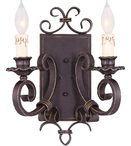 Savoy House Bourges 2 Light Wall Sconce in Forged Black 9-4318-2-17