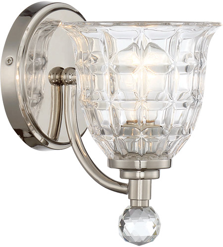 Polished Nickel Crystal Wall Sconces