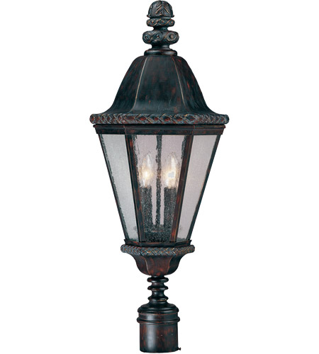 Savoy House Canterbury 4 Light Outdoor Post Lantern in Bark and Gold KP-5-202-52 photo