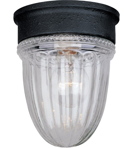 Savoy House KP-5-4901C-31 Signature 1 Light 5 inch Flat Black Outdoor Flush Mount, Jelly Jar photo