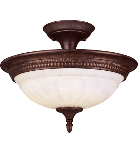 Savoy House KP-6-508-3-40 Liberty 2 Light 15 inch Walnut Patina Semi-Flush Ceiling Light in Cream Marble photo