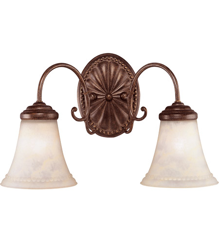 Savoy House KP-8-510-2-40 Liberty 2 Light 18 inch Walnut Patina Bath Bar Wall Light in Cream Marble photo