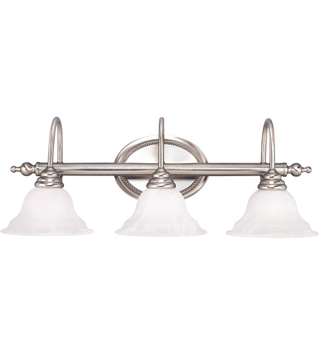 Savoy House KP-SS-108-3-69 Polar 3 Light 28 inch Pewter Bath Bar Wall Light in White Faux Alabaster photo