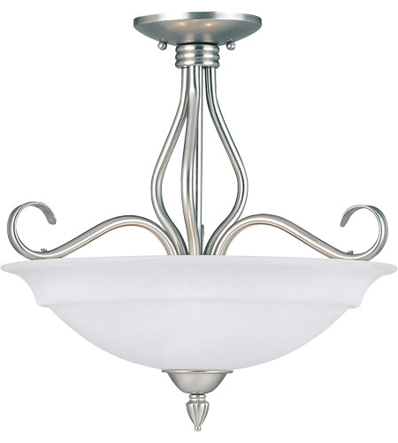 Savoy House KP-SS-111-3-69 Polar 3 Light 17 inch Pewter Semi-Flush Ceiling Light in White Faux Alabaster photo
