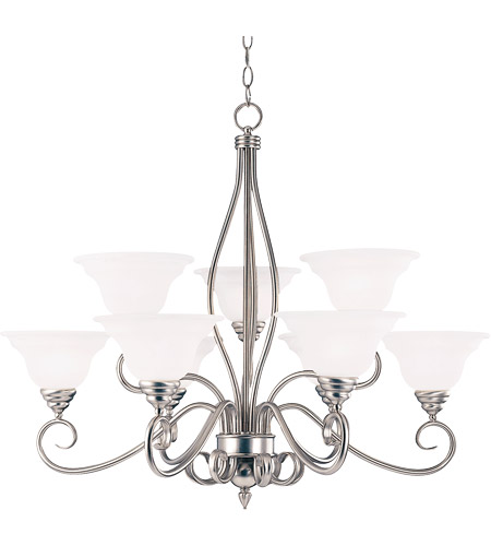 Savoy House KP-SS-99-9-69 Polar 9 Light 34 inch Pewter Chandelier Ceiling Light in White Faux Alabaster photo