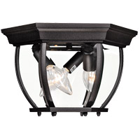 Exterior 3 Light 9 inch Black Flush Mount Ceiling Light