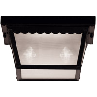Exterior 2 Light 10 inch Black Flush Mount Ceiling Light in Frosted