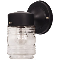 Exterior 1 Light 8 inch Black Outdoor Wall Lantern, Jelly Jar