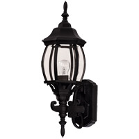 Exterior 1 Light 19 inch Black Outdoor Wall Lantern in Clear Beveled
