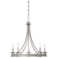 Savoy House 1-0200-5-139 Brookline 5 Light 25 inch Pewter and Greywood Chandelier Ceiling Light