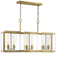 Savoy House 1-0602-6-322 Prescott 6 Light 36 inch Warm Brass Linear Chandelier Ceiling Light