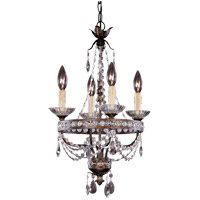 Signature 4 Light 14 inch New Tortoise Shell with Silver Mini Chandelier Ceiling Light