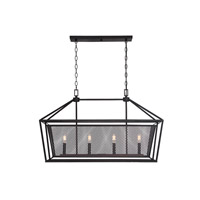 Savoy House 1-11001-4-13 Vernon 4 Light 36 inch English Bronze Linear Chandelier Ceiling Light