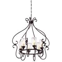 Weston 6 Light 28 inch English Bronze Outdoor Chandelier in Clear
