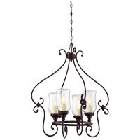 Weston 4 Light 22 inch English Bronze Outdoor Chandelier in Clear