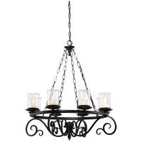 Welch 8 Light 32 inch Black Outdoor Chandelier in Clear Seeded