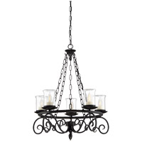 Welch 5 Light 27 inch Black Outdoor Chandelier in Clear Seeded