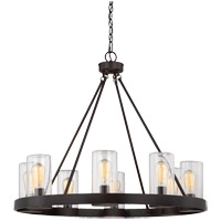 Inman 8 Light 32 inch English Bronze Outdoor Chandelier in Clear