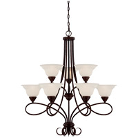 Oxford 9 Light 32 inch English Bronze Chandelier Ceiling Light in Cream Faux Alabaster