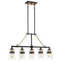 Savoy House 1-17002-5-77 Colfax 5 Light 36 inch Bronze with Brass Accents Trestle Ceiling Light