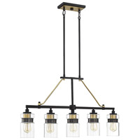 Savoy House 1-17002-5-77 Colfax 5 Light 36 inch Bronze / Brass Accents Linear Chandelier Ceiling Light alternative photo thumbnail