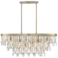 Savoy House 1-1847-8-127 Livorno 8 Light 36 inch Noble Brass Linear Chandelier Ceiling Light