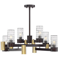 Savoy House 1-1951-10-79 Bunker 12 Light 28 inch English Bronze And Warm Brass Chandelier Ceiling Light