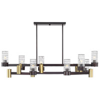 Savoy House 1-1952-14-79 Bunker 14 Light 48 inch English Bronze and Warm Brass Linear Chandelier Ceiling Light