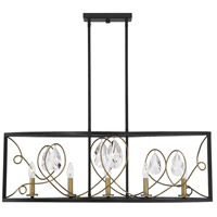 Savoy House 1-2032-5-62 Suave 5 Light 37 inch Como Black with Gold Linear Chandelier Ceiling Light