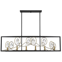 Savoy House 1-2033-6-62 Suave 6 Light 48 inch Como Black with Gold Linear Chandelier Ceiling Light