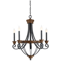 Wickham 5 Light 25 inch Whiskey Wood Chandelier Ceiling Light