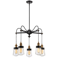Macauley 5 Light 26 inch Vintage Black with Warm Brass Chandelier Ceiling Light