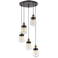 Macauley 5 Light 17 inch Vintage Black with Warm Brass Chandelier Ceiling Light, Multi Point