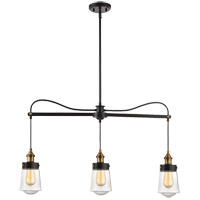 Macauley 3 Light 35 inch Vintage Black with Warm Brass Trestle Ceiling Light