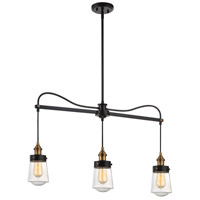 Savoy House 1-2062-3-51 Macauley 3 Light 35 inch Vintage Black with Warm Brass Trestle Ceiling Light alternative photo thumbnail