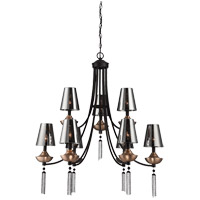 Savoy House Avington 9 Light Chandelier in Ebony with Titian Accents 1-211-9-19