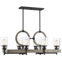 Savoy House 1-2132-6-101 Hartman 6 Light 40 inch Noblewood with Iron Linear Chandelier Ceiling Light