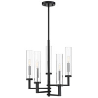 Savoy House 1-2135-5-67 Folsom 5 Light 17 inch Matte Black with Polished Chrome Accents Chandelier Ceiling Light