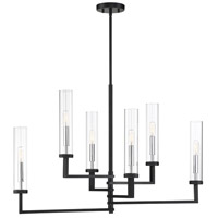 Savoy House 1-2136-6-67 Folsom 6 Light 34 inch Matte Black with Polished Chrome Accents Linear Chandelier Ceiling Light