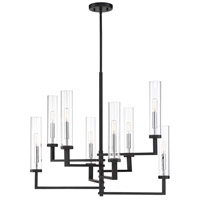 Savoy House 1-2139-8-67 Folsom 8 Light 28 inch Matte Black with Polished Chrome Accents Chandelier Ceiling Light