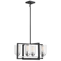 Savoy House 1-2150-4-67 Redmond 4 Light 20 inch Matte Black with Polished Chrome Accents Chandelier Ceiling Light