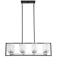Savoy House 1-2151-8-67 Redmond 8 Light 36 inch Matte Black with Polished Chrome Accents Linear Chandelier Ceiling Light