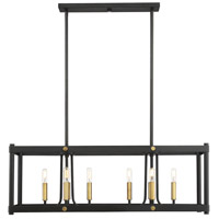 Savoy House 1-2230-8-51 Fowler 8 Light 36 inch Vintage Black with Warm Brass Linear Chandelier Ceiling Light